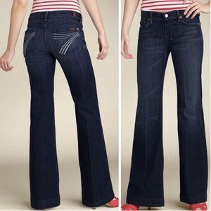 7FAM | White 7 Dark Wash Dojo Wide Leg Jeans